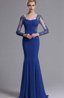 Mermaid Floor-Length Sweep Sweetheart Long Sleeve Jersey Lace Lace Zipper Dress
