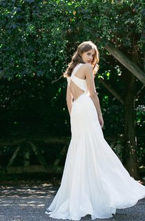 Sleeveless V-Neck A-Line Chiffon Gown With Ruching and Dropped Waist