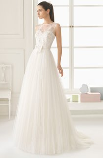 Sleeveless A-line Lace Dress With Illusion Back And Bow Sash