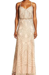 Spaghetti Straps Art Deco Floor-length Bridemaid Dress