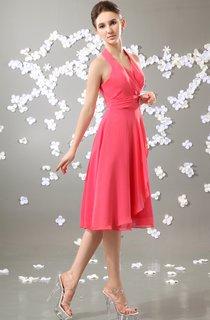 Knee-Length Chiffon V-Neck Dress With Pleating