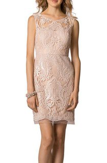 Scoop Neck Lace Short Bridesmaid Dress