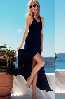 Sleeveless Long Chiffon Dress with Scoop Neck and Side Split