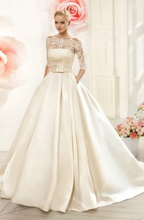 Ball Gown Floor-Length Off-The-Shoulder Half-Sleeve Illusion Satin Dress With Lace