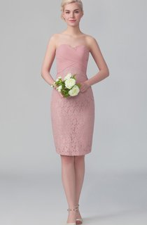 Short Sweetheart Lace Dress With Zipper