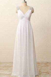 Floor-Length V-Neck Pleats Beading Zipper Chiffon Dress