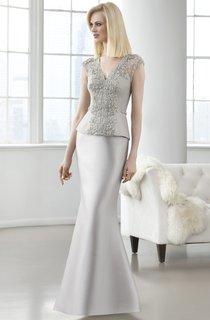 Sheath Long V-Neck Cap-Sleeve Satin Beading Illusion Dress