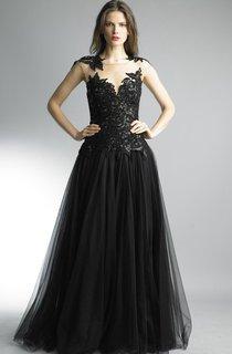 A-line Floor-length Jewel Sleeveless Tulle Illusion Dress