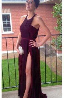 Gorgeous Burgundy Sleeveless Prom Dresses 2016 Long Chiffon