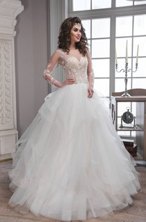 Ball Gown Long Scoop Illusion-Sleeve Keyhole Tulle Dress With Appliques And Ruffles