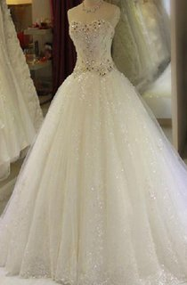 Ball Gown Long Sweetheart Beading Lace-Up Back Keyhole Tulle Lace Satin Dress