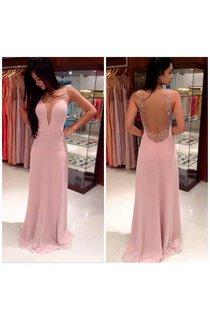 A-line Straps Sleeveless Beading Floor-length Chiffon Dresses