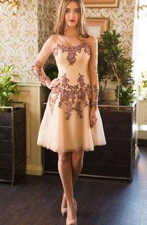 A-Line Short Bateau Long Sleeve Lace Appliques Lace-Up Dress