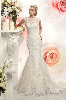 Trumpet Floor-Length Jewel Cap-Sleeve Illusion Lace Dress With Appliques And Waist Jewellery