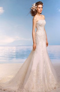Trumpet Floor-Length Strapless Sleeveless Corset-Back Lace Dress With Appliques