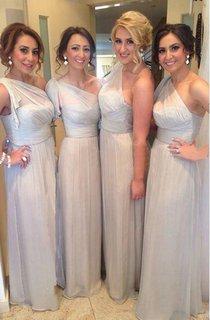 A-line One-shoulder Draping Pleats Zipper Chiffon Dress
