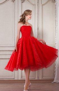 A-Line Tea-Length Strapless Sleeveless Organza Ruching Pleats Zipper Dress