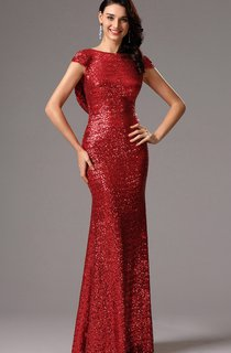 Sheath Bateau Short Sleeve Sequins Backless Dress