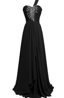 One-shoulder A-line Chiffon Gown With Beadings