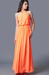 Sleeveless Jewel Neck Pleated Long Chiffon Dress With Cut-out