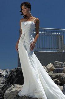 sheath Empire One Shoulder Chiffon Beach Wedding Dress