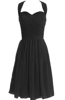 Halter Knee-length Chiffon Dress With Pleats
