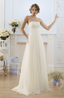 A-Line Floor-Length Strapless Sleeveless Empire Lace-Up Tulle Dress With Ruching