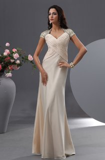 Graceful Queen Anne Chiffon Gown With Shiny Floral Cap Sleeves