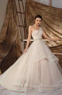 Ball Gown Long One-Shoulder Sleeveless Lace-Up Chiffon Dress With Ruching And Waist Jewellery