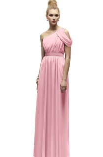 Long Empire Chiffon Classic One-Shoulder Dress