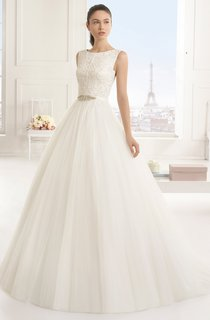Lacy Bodice Gown With Bows At Back And Beaded Sash