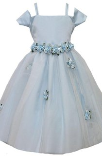 Off-shoulder A-line Tulle Dress With Flowers