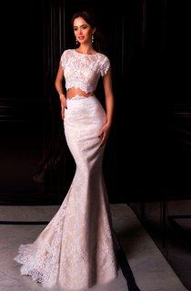 Mermaid Sweep Jewel Short Sleeve Lace Pleats Zipper Dress