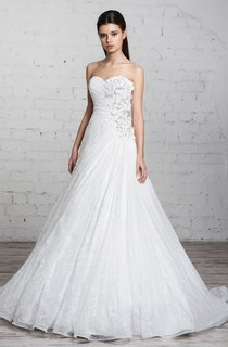 Long Sweetheart A-line Lace Wedding Dress With Ruffles And Ruching