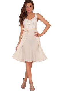 Sweet A-line Short Dress With Satin Belt