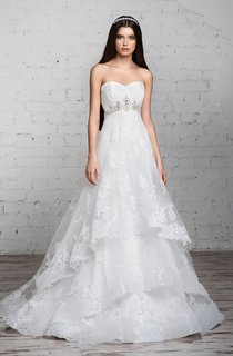 A-Line Long Sweetheart Sleeveless Empire Corset-Back Lace Dress With Tiers And Beading