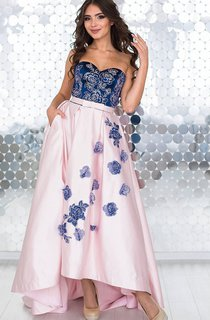 A-Line High-Low Sweep Sweetheart Sleeveless Taffeta Appliques Lace-Up Dress
