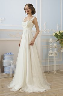 A-Line Floor-Length Straps Sleeveless Lace-Up Tulle Dress With Appliques And Pleats