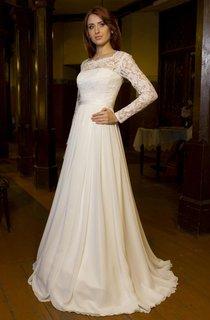Square Neckline Lace Bodice Chiffon Skirt A-Line Dress