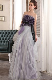 Elegant Strapless Floor-Length Dress With Floral Top
