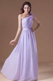 Ruched Floor-Length Chiffon Dress With Floral Strap