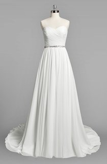 Sweetheart A-Line Chiffon Wedding Dress With Ruching and Beading