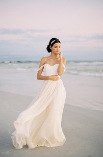 Sweetheart A-Line Floor Length Chiffon Dress With Lace Bodice
