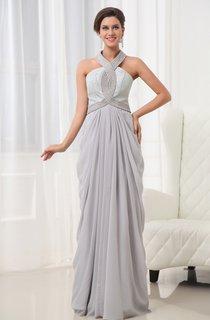 Graceful Vintage Halter A-Line Chiffon Gown Lace Bodice Beading Details