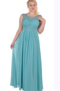 A-Line Floor-Length Jewel Short Sleeve Empire Chiffon Pleats Zipper Dress