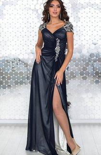 Sheath Floor-Length V-Neck Short Sleeve Chiffon Pleats Appliques Zipper Dress