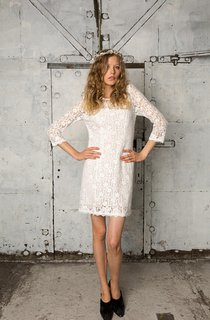 Sheath 3-4 Sleeve Short Lace Dress With Bateau Neckline