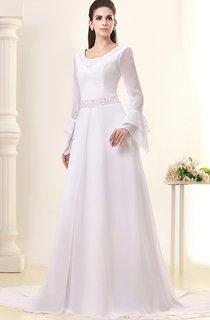Gossamery Chiffon Maxi Dress With Illusion Sleeve and Jeweled Waist