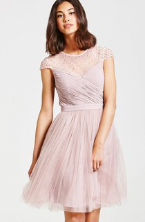 Beaded Illusion Neckline Dress With Back Keyhole