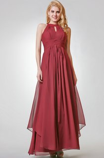 Halter Long A-line Chiffon Dress With Pleats